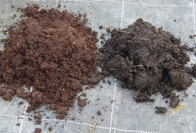 mixing potting soil