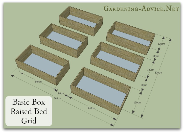 six raised beds arrange the boxes in u shape and you get a very compact design that maximizes growing space